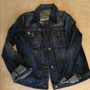 Women's distressed blue jean jacket